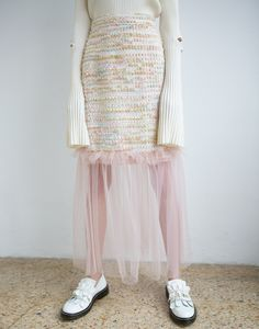 Mother of Pearl collection - styled by Monique Delapierre and shot by Piot Marzec Pink Tulle, Sustainable Clothing, Contemporary Fashion, Tweed, Women Wear, Ballet Skirt, Wool, Pearls, Celebrities