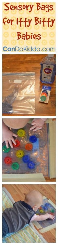 Sensory Bag take a sturdy galsized freezer bag dump in a large container of store colored hair gel Toss a few small nonpointy toys into the bag with the gel Small balls. Toddler Play, Baby Play, Baby Toys, Infant Play, Infant Toddler, Sensory Bags, Sensory Play, Sensory Bottles, Infant Activities