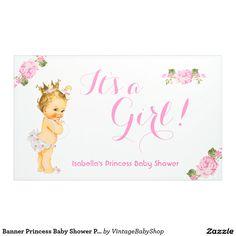 Banner Princess Baby Shower Pink Floral Blonde