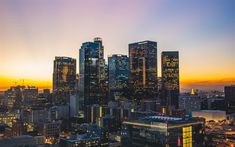 Download wallpapers Los Angeles, sunset, skyscrapers, USA, LA, America