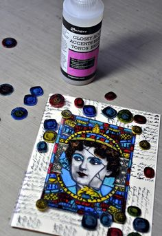PaperArtsy: 2016 #1 Jewelled Card {by Liesbeth Fidder}. Shrinky dink jewels