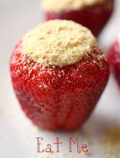 Strawberry Cheesecake Bites ...  No Bake Cheesecake ... hull the strawberries, fill with cheesecake mix and dip the tops in the graham cracker crust crumbles. Refrigerate until ready to serve. Easy and delicious.