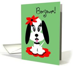 French Birthday Adorable Black and White Doggy with Red Flower card