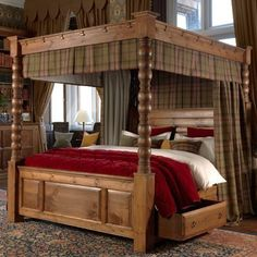 Explore the best Fabulous Canopy four poster Bed Design Ideas at Live Enhanced. Visit for more images and take ideas about Canopy's four-poster Bed Design. Canopy Bed Drapes, Wood Canopy Bed, Canopy Bedroom, Wood Beds, Ikea Canopy, Hotel Canopy, Canvas Canopy, Window Canopy