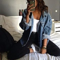 stylestreetfashion:    Black Denim Pant - Little Things
