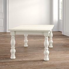 Kelly Clarkson Home Sylvan Extendable Dining Table & Reviews | Wayfair Chunky Dining Table, French Country Dining Table, Country Kitchen Tables, White Dining Table, Extendable Dining Table, Side Chairs, Dining Chairs, Dining Room, Faux Stone Walls
