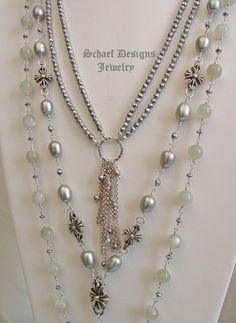 Schaef Designs Gray Moonstone & large freshwater pearl, hematite, & sterling silver layering necklace trio  | New Mexico