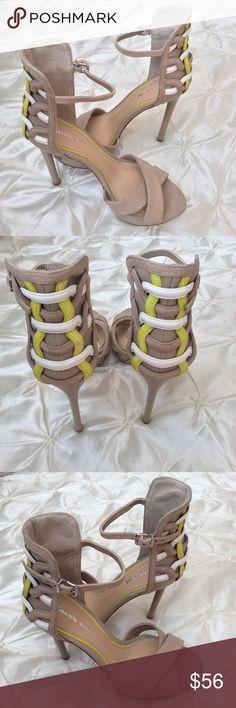 "Gianni Bini Neon Braided Platform Heels Super sexy leather heels by Giani Bini! A great combination of tan, lime green, and white colors. 1"" platform 5"" heels.  Gianni Bini Shoes Heels"