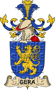 Gera Family Crest apparel, Gera Coat of Arms gifts