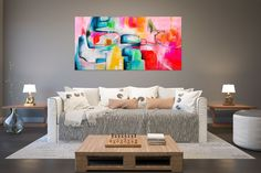 Large Abstract Painting,Modern abstract painting,bright painting art,livingroom decor art,xl abstract painting FY0045