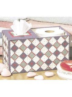 Plastic Canvas - Home Decor - Tissue Topper - Hearts and Diamonds Tissue Keeper - #FP00248