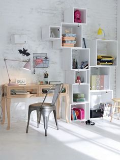 (With my name on it) Nice dot work design Home office design Boxed shelves - try this with IKEA's PRÄNT boxes! Interior Inspiration, Room Inspiration, Workspace Inspiration, Design Inspiration, Etagere Cube, Office Workspace, Deco Design, Design Design, Home And Deco