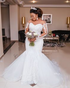 African Luxury Beading Mermaid Wedding Dress Long Sleeve Appliques Pearls Wedding Gowns Plus Size Black Bride Vestido de noiva - White 14 dresses for black women brides plus size Plus Wedding Dresses, Sheer Wedding Dress, Dresses Elegant, African Wedding Dress, Amazing Wedding Dress, Fit And Flare Wedding Dress, Lace Mermaid Wedding Dress, Backless Wedding, Bridal Lace