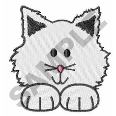Great Notions Free Embroidery Design: CHILDS KITTEN POCKET TOPPER 2.13 inches H x 2.11 inches W