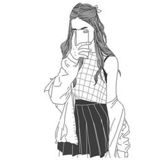 Art girl drawing shared by Mielletanne✿ on We Heart It Tumblr Outline, Outline Art, Outline Drawings, Cool Drawings, Drawing Sketches, Drawing Grid, Drawing Ideas, Hipster Drawings, Tumblr Girl Drawing