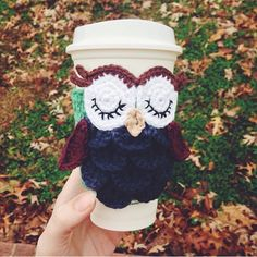 Crochet Owl Mug Cozy - Travel Mug Cozy - Navy, Green, Burgundy, & Tan - Sleepy Owl - Customizeable - Most Colors Available - Starbucks Cozy by crochetbygabs on Etsy https://www.etsy.com/listing/220326801/crochet-owl-mug-cozy-travel-mug-cozy