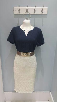 Navy v-neck top $32.99, cream lace pencil skirt $26.99, necklace $9.99, wide width belt $16.99.
