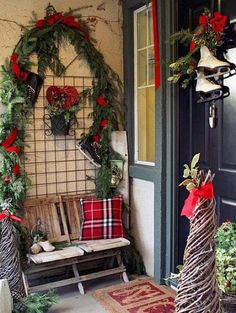 From feathers to frames, these twists on classic door and porch decor will make your house the star of the street this Christmas season.