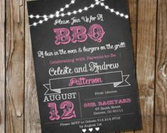 Chalkboard BBQ Baby Shower for a Girl - Invitation - Instantly Downloadable and Editable File - Personalize at home with Adobe Reader