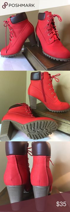 """Red Ankle Booties 😍 NWOT! Never worn red ankle booties. These are sooooo cute 😍 dress, leggings, jeggings or if you dare...shorts! Lace up but have side zip for easy on / off. 4.5"""" shaft. 3"""" heel. Shoes Ankle Boots & Booties"""