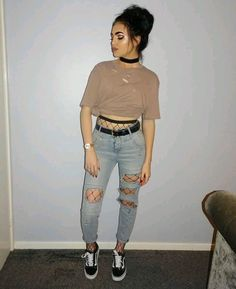 fishnets under boyfriend jeans and cropped t shirt