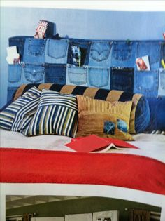 Old jeans headboard with pockets DIY instructions p132 Small Room Decorating Spring 2013