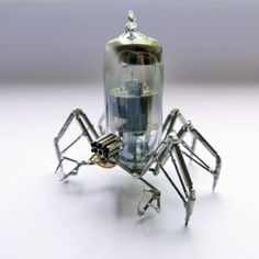 Vacuum Tube Spider Sculpture No 9 Mechanical Recycled Watch Parts Clockwork Arachnid Figurine Stems Lightbulb Arthropod A Mechanical Mind