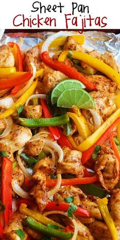 Sheet Pan Chicken Fajitas are quickly going to become a favorite. They're burs… Sheet Pan Chicken Fajitas are quickly going to become a favorite. They're bursting with flavor, super healthy and incredibly simple to throw together. Chicken Fajita Rezept, Chicken Fajita Casserole, Chicken Recipes, Baked Chicken Fajitas, Oven Chicken, Cashew Chicken, Chicken Tacos, Keto Chicken, Clean Eating Recipes