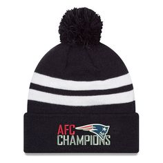 save off 8ef43 a58c5 Men s New England Patriots New Era Navy 2017 AFC Champions Top Stripe Knit  Hat, Your