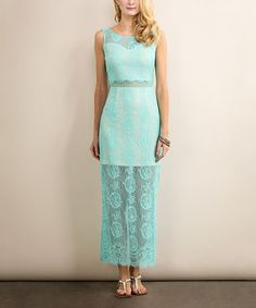 This Sage Blue Lace Back-Slit Maxi Dress is perfect! #zulilyfinds