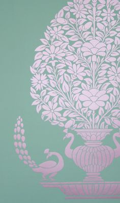 Peacock Vase Wallpaper [ELE-42507] : Designer Walls and Fabrics, Specialty Wallpaper for Home or Office
