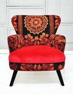 Patchwork armchair with Suzani and crimson velvet fabrics
