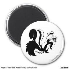 Looney Tunes - Pepe Le Pew and Penelope 2 Inch Round Magnet cat, home decor, decoración. Producto disponible en tienda Zazzle. Product available in Zazzle store. Regalos, Gifts. Día de los enamorados, amor. Valentine's Day, love. Link to product: #ValentinesDay #SanValentin #love #PepeLePew #LooneyTunes #imanes #magnets