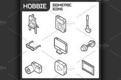 Hobbie outline isometric icons set