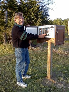 Microwave turned Little Free Library