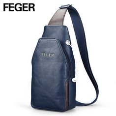 FEGER  Good Selling Men Messenger Bags Casual PU Crossbody Bag Chest Pack Bag Solid Sling Bag with Earphone Hole