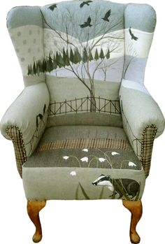 Rustique Interiors: upholstered chair with badger, snowdrops and crows.