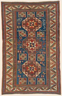 "Antique Late 19th Century Connoisseur-Caliber Southern Central Caucasian Memling Gul Kazak Rug 5' 5"" x 8' 7"" - Claremont Rug Company"