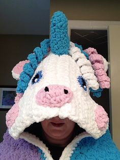 Crochet Unicorn Blanket...Hoodie-- FREE PATTERN - Bernat Blanket Yarn