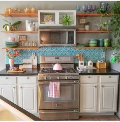 Kitchen is the most important room/part of the house. Kitchen is the most important room/part of the house. This is because it is the center of your home Boho Kitchen, Farmhouse Kitchen Decor, Home Decor Kitchen, Kitchen Styling, Kitchen Interior, Home Kitchens, Hippie Kitchen, Eclectic Kitchen, French Kitchen