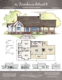 84 Farmhouse Retreat Artistic Designs For Living – Farmhouse Room Cabin House Plans, Dream House Plans, Small House Plans, House Floor Plans, The Plan, How To Plan, Cottage Plan, Cottage Homes, Style At Home