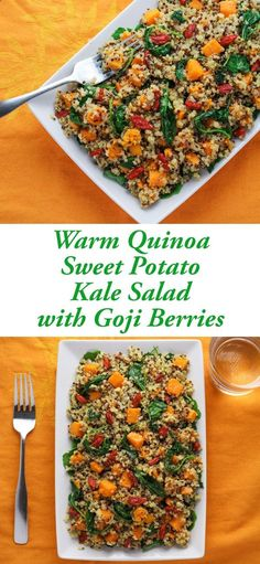 This Warm Quinoa Sweet Potato Kale Salad with Goji Berries comes together in…