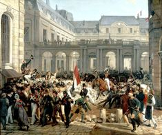 """Louis-Philippe Going from the Palais Royal to the Hôtel de Ville"" (Horace Vernet, 1832, oil on canvas). In the Château de Versailles. The culmination of the French ""July Revolution"" of 1830, in which King Charles X and the senior branch of the House of Bourbon were deposed. The exceedingly clever and interestingly devious man on horseback in the center, Charles X's cousin the Duke of Orleans, is on his way to be proclaimed King Louis-Philippe I."