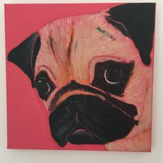 Pug Dog Acrylic on canvas 30 x 30 cm by j.bruguera@hotmail.co.uk
