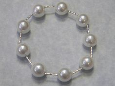 Large Freshwater Pearl and Silver Tube Stretch Bracelet