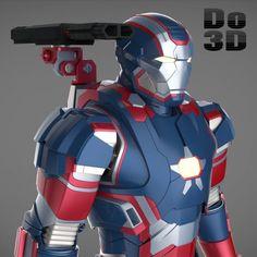 Printable Model of Iron Man Patriot Armor Suit from Iron Man 3 Suit Of Armor, Body Armor, Marvel Vs Dc Comics, Blaster Star Wars, Marvel Universe Characters, Star Wars Vii, 3d Printable Models, Star Wars Prints, Iron Man 3
