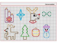 Dibujos de artisticas en cuadricula de navidad