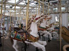 The Zeum Carousel was built and hand carved by Charles I.D. Loof in 1904 for San Francisco, but instead sent to Seattle's Luna Park due to the 1906 Earthquake. It returned to Playland-At-The-Beach in 1914 where it ran until 1972.