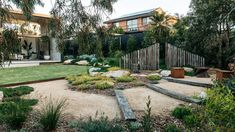 This Woolooware garden from Grant Boyle came with a strong brief to maximise native plant life and some inventive upcycling. Backyard Garden Design, Garden Landscape Design, Garden Landscaping, Small Native Garden Design, Pool Garden, Rain Garden, Dream Garden, Concrete Path, Australian Native Garden