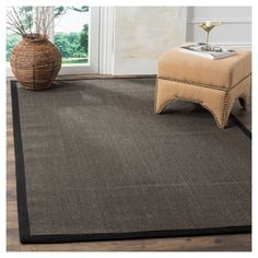 Klara Natural Fiber Area Rug - Charcoal (Grey) / Charcoal (11' X 15') - Safavieh, Durable